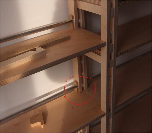 Detailansicht für Bodentraeger Bohrung.