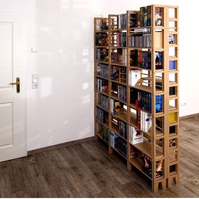 Raumteiler Regal aus Holz für DVDs und CDs
