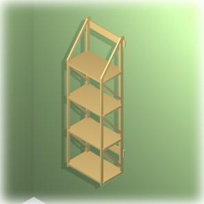 Bücherregal für Wandbefestigung aus dem Holzwerkstoff MDF
