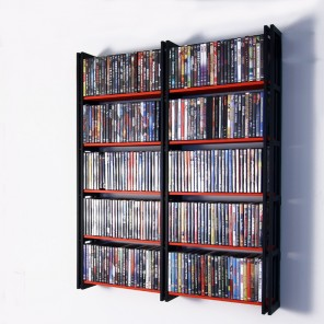 280 DVDs brauchen mit diesem Wandregal nicht mehr Platz wie ein mittelgroßes Poster