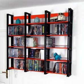 DVD Wandregal in Schwarz und Rot. Ein erweiterbares System für über 400 DVDs
