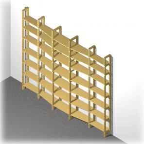 Bücherregal mit wechselnder Tiefe aus MDF