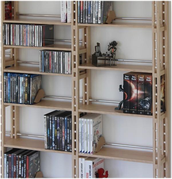 zweispaltiges dvd regal auch f r b cher sehr gut geeignet. Black Bedroom Furniture Sets. Home Design Ideas