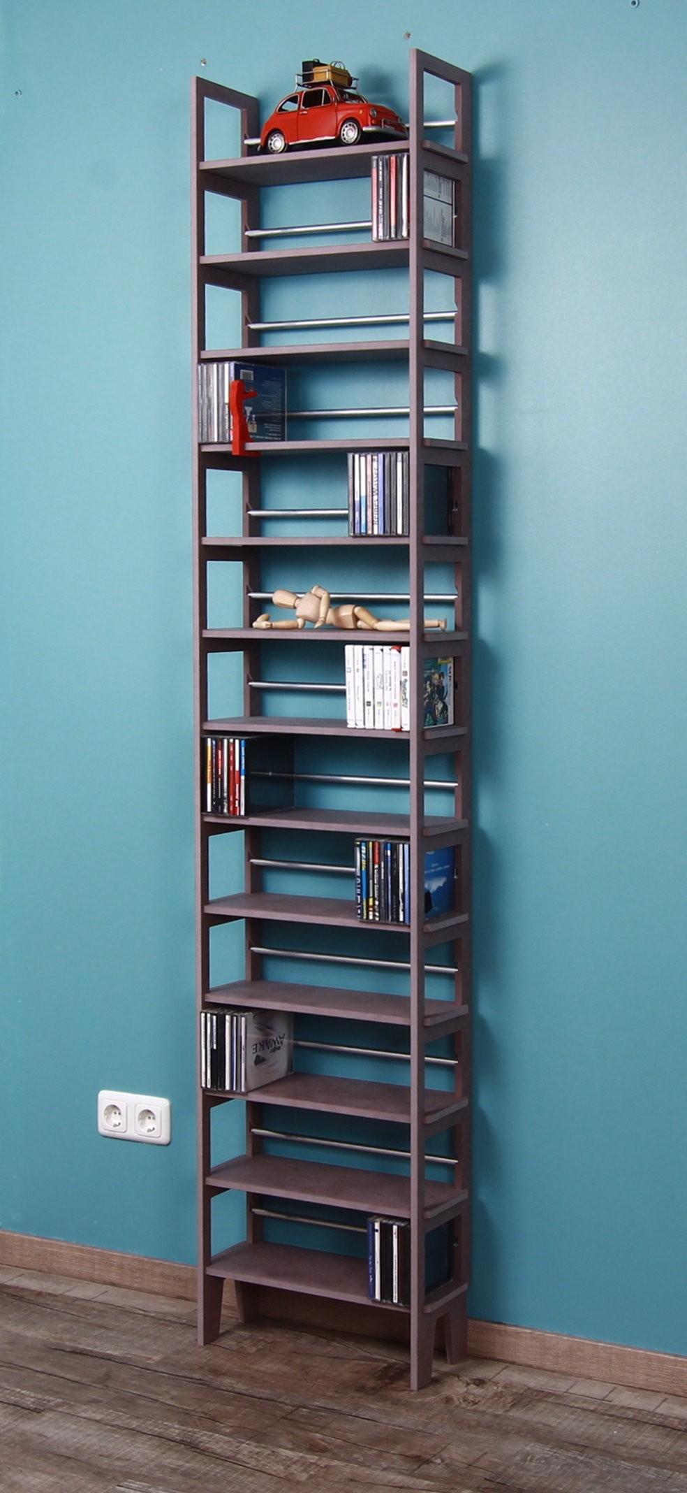graues cd standregal 2 meter hoch. Black Bedroom Furniture Sets. Home Design Ideas