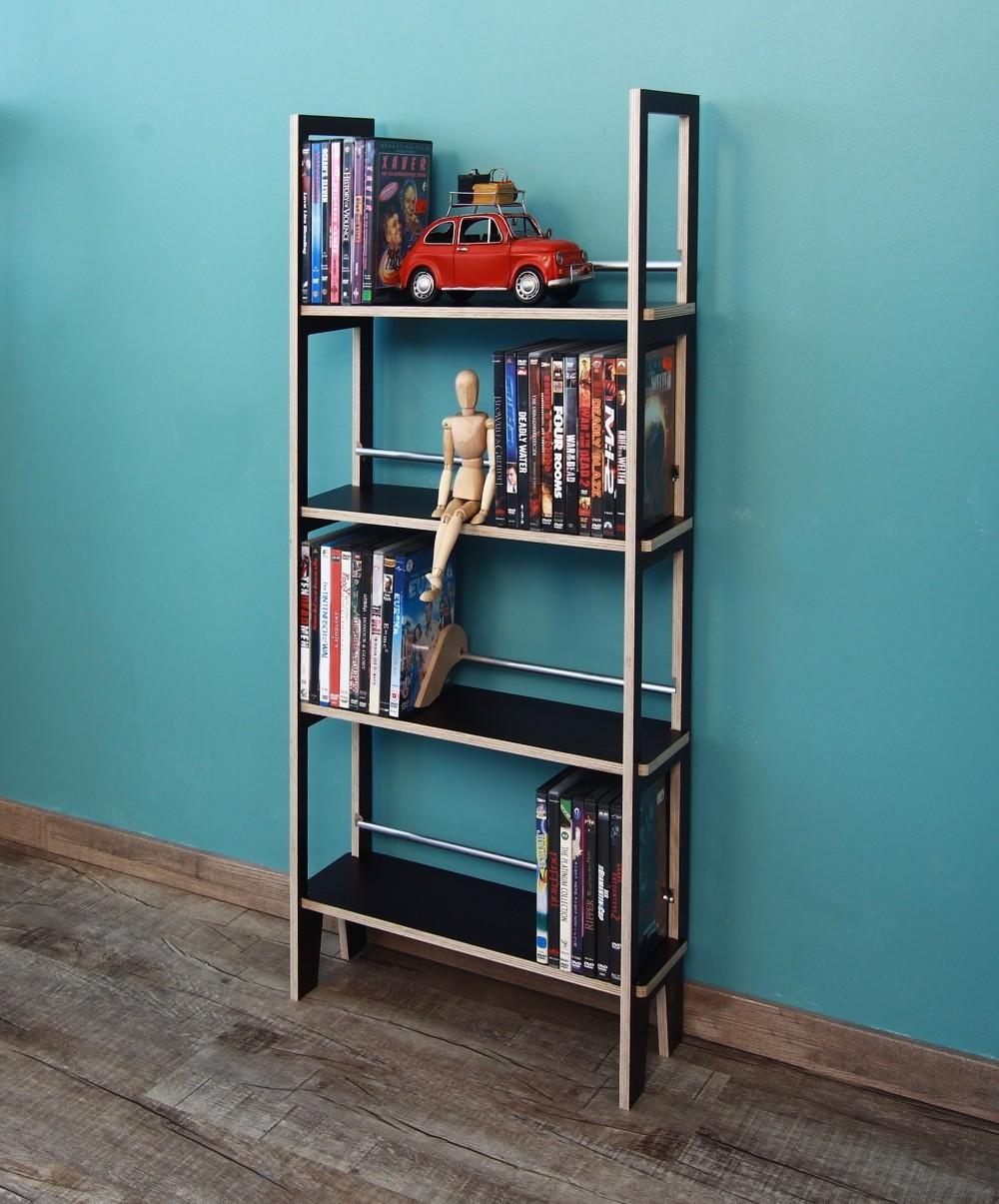 dvd regal in schwarz 1 meter hoch mit platz f r ca 110 dvds. Black Bedroom Furniture Sets. Home Design Ideas