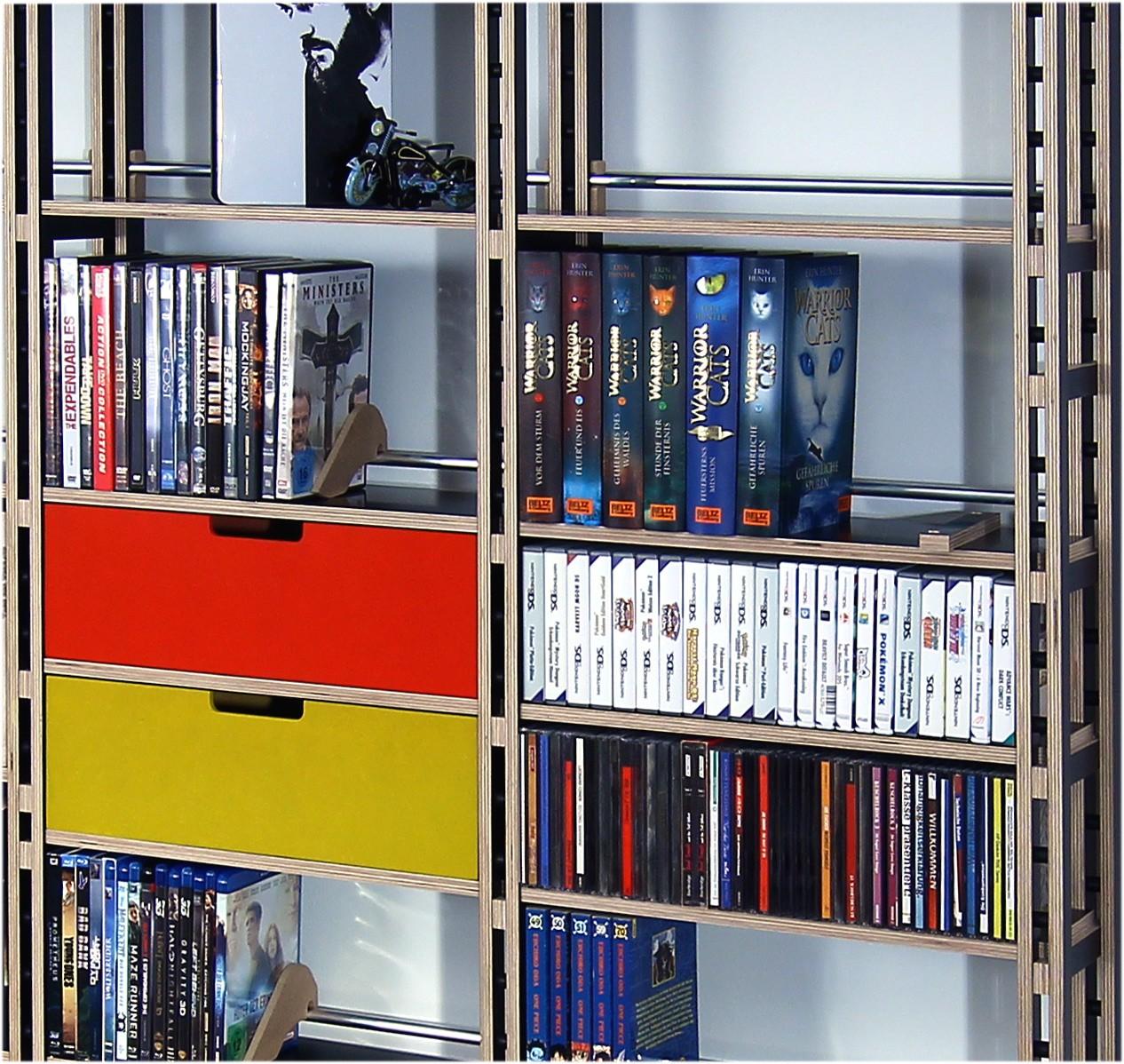 dvd regal in mdf oder schwarz birke multiplex mit k sten. Black Bedroom Furniture Sets. Home Design Ideas