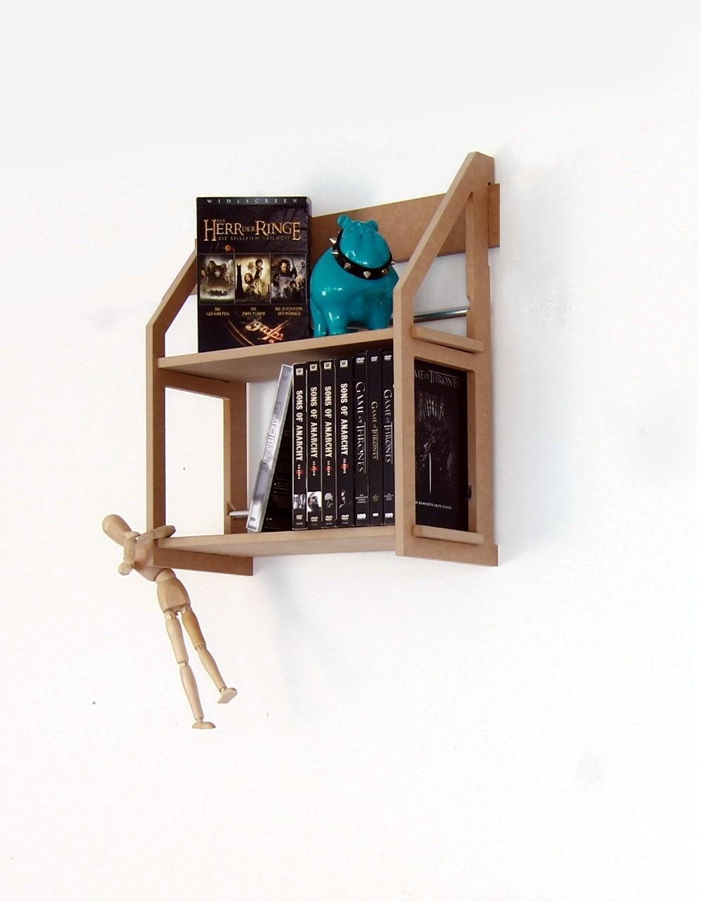 dvd wandregal mit 2 b den f r 52 dvd. Black Bedroom Furniture Sets. Home Design Ideas