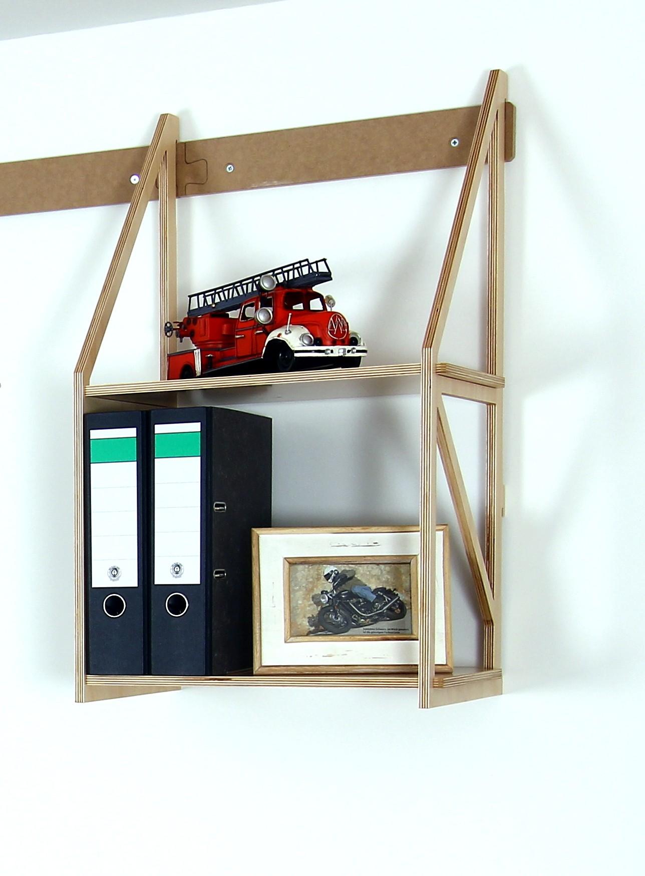 wandregal modul f r din a4 ordner mit 2 b den. Black Bedroom Furniture Sets. Home Design Ideas