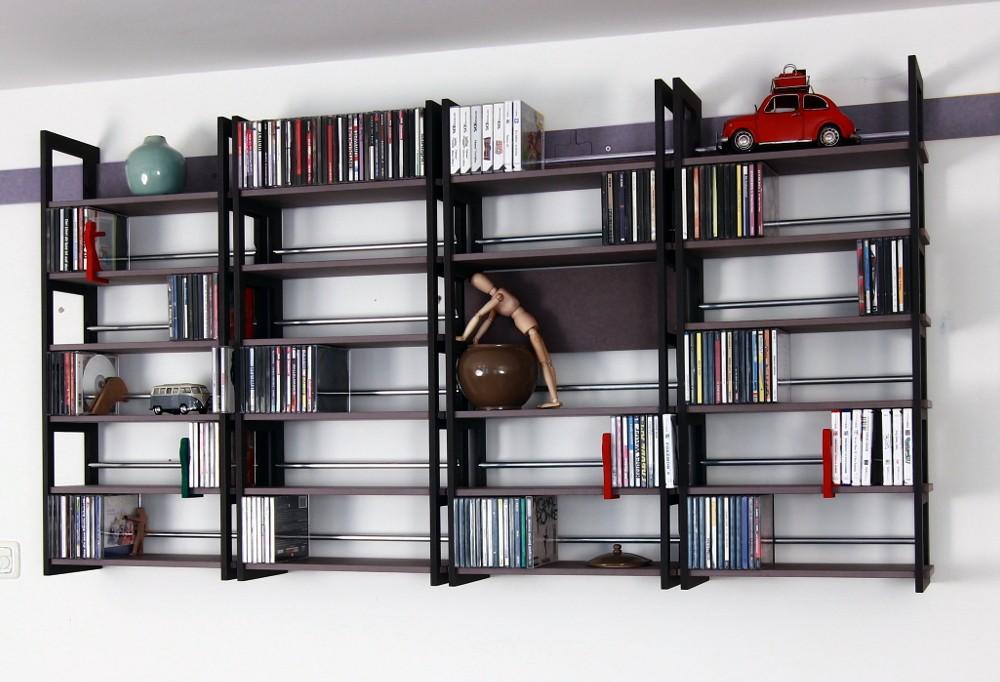 wandregale f r cds kombi schwarz und grau. Black Bedroom Furniture Sets. Home Design Ideas