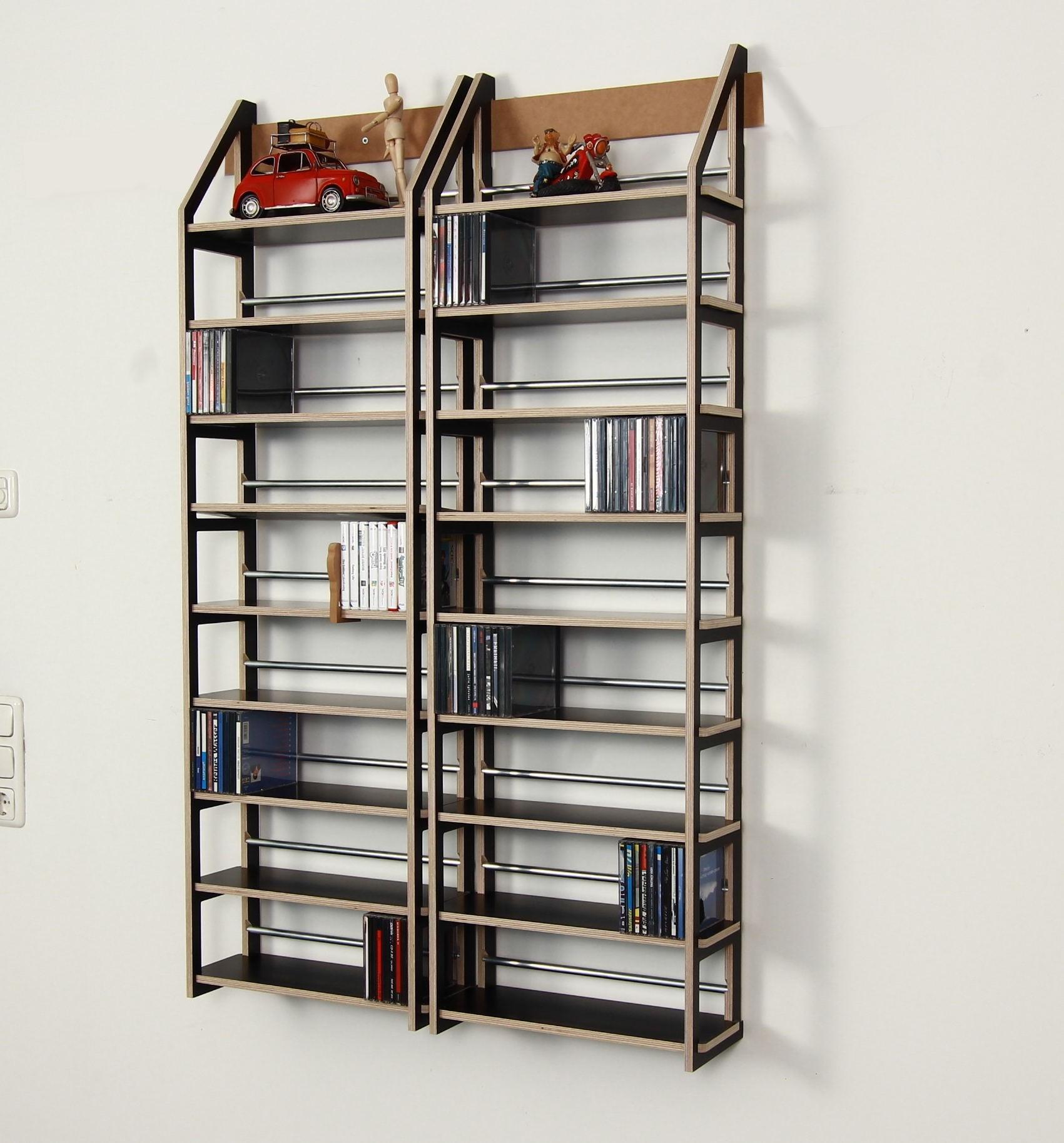 schwarzes cd regal f r 648 cds. Black Bedroom Furniture Sets. Home Design Ideas