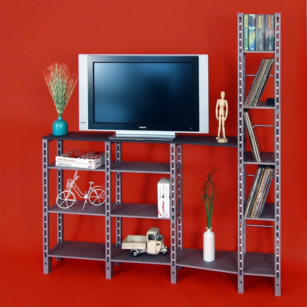 regal f r diverse b cher mit fernsehtisch. Black Bedroom Furniture Sets. Home Design Ideas