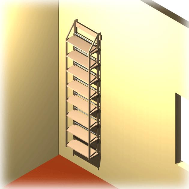 wandregal grau durchgef rbt mit platz f r ber 200 dvds. Black Bedroom Furniture Sets. Home Design Ideas