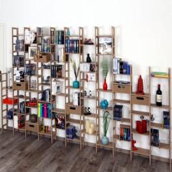 Regalwand Idee mit ausgezogenem Kasten und Buchenfigur vergleich